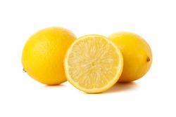 Fresh lemons isolated on white background. Ripe fruit