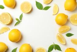 Fresh lemons on white background, top view. Ripe fruit