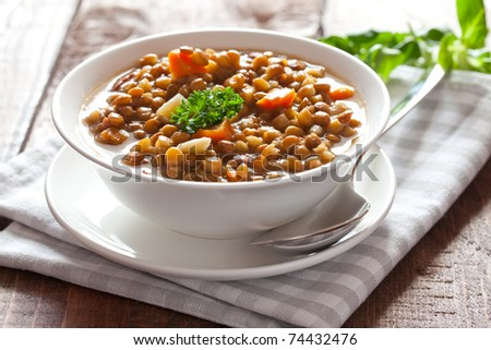 fresh lentil stew in bowl with parsley