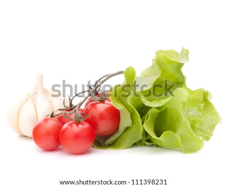 Fresh lettuce salad leaves bunch and cherry tomato isolated on white background cutout