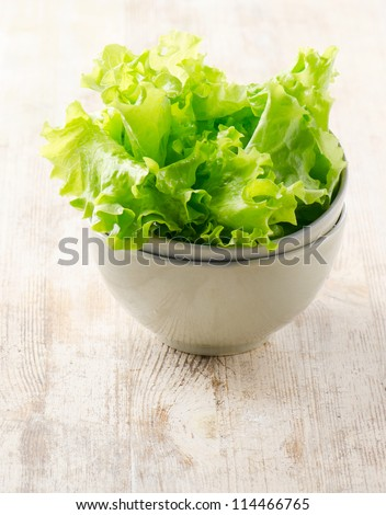 Fresh lettuce salad  on a wooden table