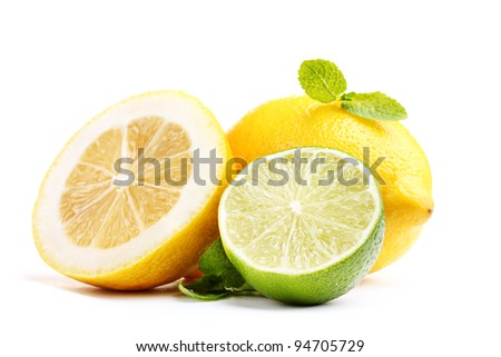 Fresh lime and lemon with mint isolated on white