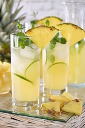 Fresh lime and mint combined with fresh pineapple juice and tequila. Pineapple cocktails always have a bright taste and aroma!