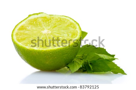 fresh lime and mint isolated on white