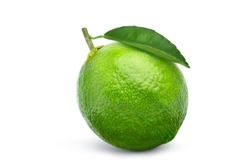 Fresh lime fruit with green leaf isolated on white background. Clipping path.