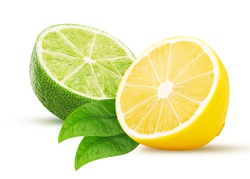 Fresh lime, lemon cut in half, with leaf isolated on white background. Clipping Path. Full depth of field.