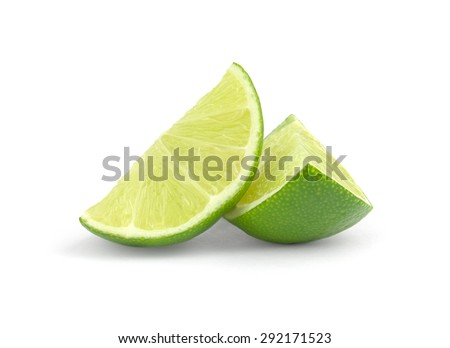 fresh lime wedge isolated on a white background. #292171523
