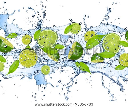 Fresh limes falling in water splash, isolated on white background