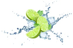 Fresh limes, mint leaves, ice cubes and water splashes, isolated on white background