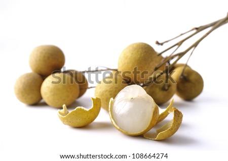 Fresh longan on the white background