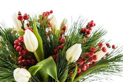 Fresh, lush bouquet of colorful flowers  for present isolated on white background. Wedding bouquet of white tulips and freesia flowers. Christmas decor. Can be used for blog, greeting card, poster