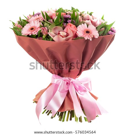 Fresh, lush bouquet of colorful flowers, isolated on white background - Shutterstock ID 576034564