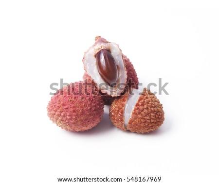 Fresh lychee fruits isolated on white background #548167969