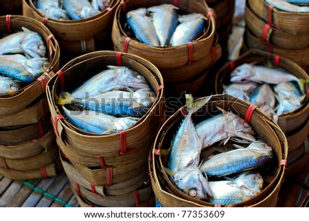 Fresh mackerel in basket in market