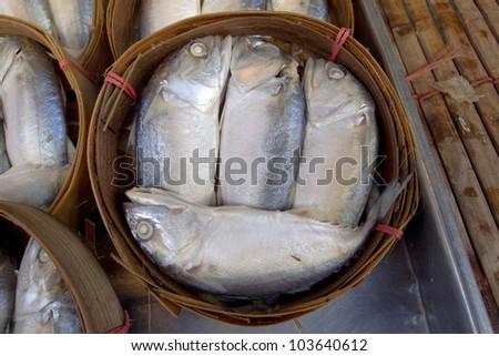 fresh mackerel in basket in market, Asia, Thailand