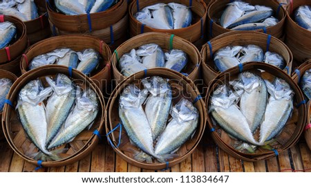 fresh mackerel in basket in market , Asia , Thailand