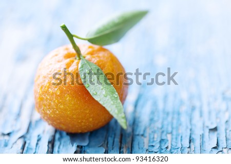 fresh mandarin on a rustic table