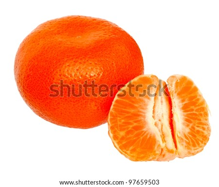Fresh mandarin orange isolated on a white background.