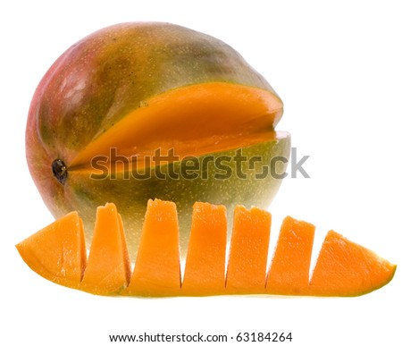 Fresh mango close up macro isolated on white background
