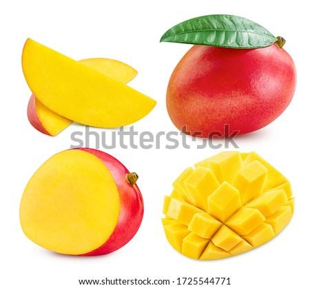 Fresh mango fruit. Mango isolated on white background. Collection mango with clipping path. Foto stock ©