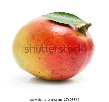 fresh mango fruit with green leafs isolated on white background