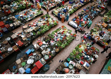 Fresh market in Kota Bharu, 2006.