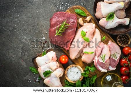 Fresh meat assortment - beef, pork, chicken.