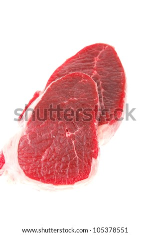 fresh meat : raw uncooked fat lamb pork fillet mignon loin isolated over white background