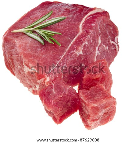 fresh meat with rosemary herb  isolated on white