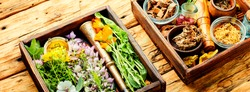 Fresh medicinal,healing herbs.Alternative medicine herbal.Herbal medicine and homeopathy