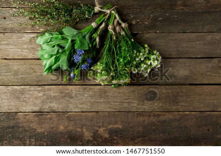 Fresh medicinal herbs. Medicinal herbs (chamomile, wormwood, yarrow, mint, St. John's wort and chicory) on an old wooden board. View from above. Copy space #1467751550