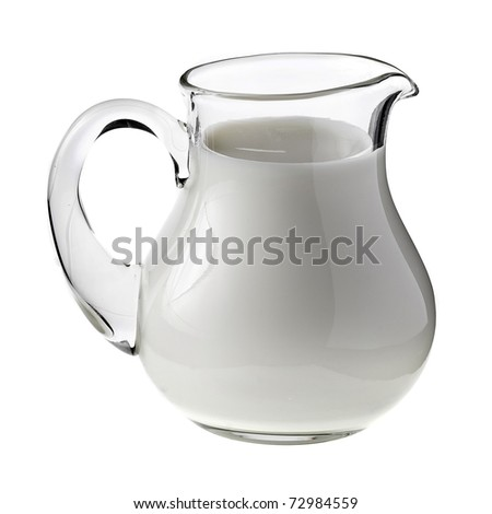 Fresh Milk in pitcher isolated on white background