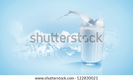 Fresh milk in the glass on colour background, illustration