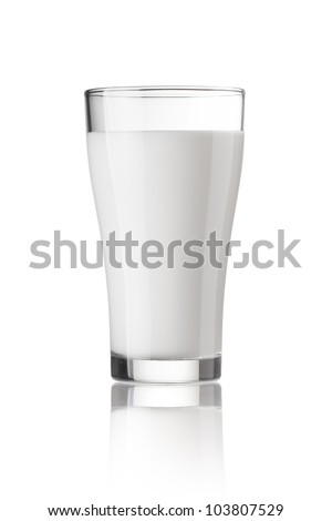fresh milk in the glass on white background, isolated