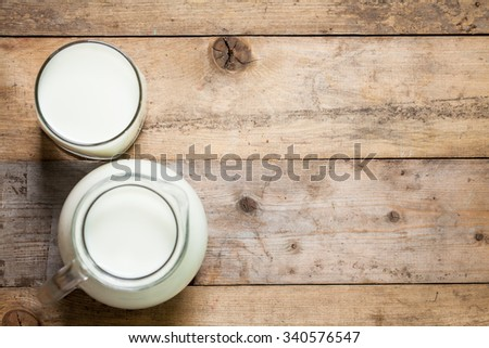Fresh Milk on Glasses Bottle, Dairy Produce Concept of Breakfast on Wood Table Background, Country Rustic Still Life Style, Vintage Tone, Top view. Space for text.