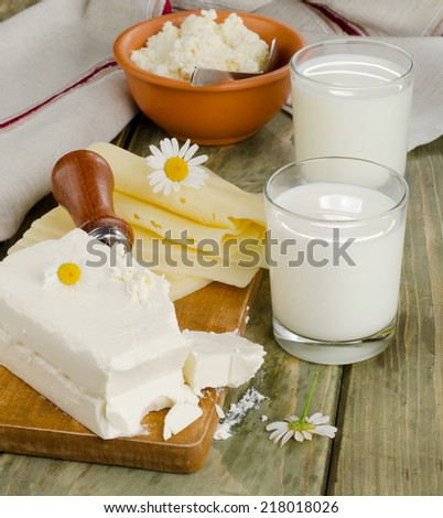 Fresh Milk  products on a wooden background Selective focus