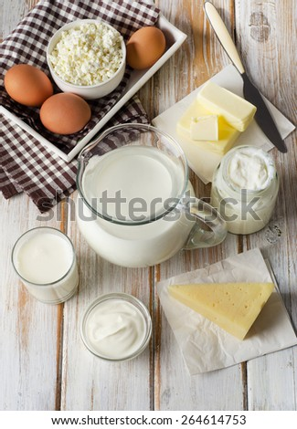 Fresh Milk products on  a wooden background.Top view