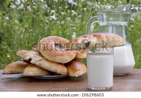 Fresh milk with appetizing ruddy pies in a summer garden