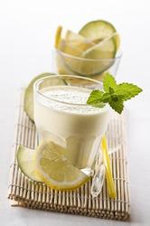 Fresh milkshake with mint and lemon close up shoot