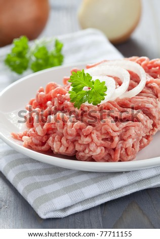 fresh minced meat with onion