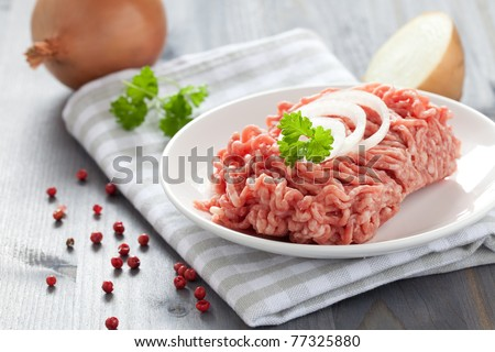 fresh minced meat with onions