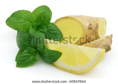 Fresh mint ginger and lemon - stock photo