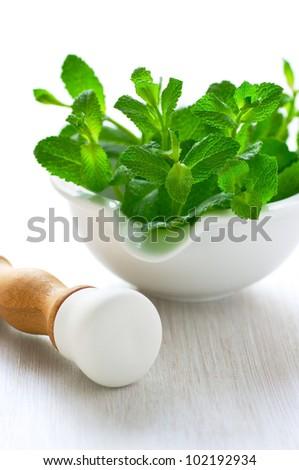 Fresh mint in a ceramic mortar