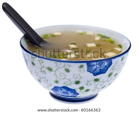 Fresh Miso Soup Made with Tofu and Green Onions.