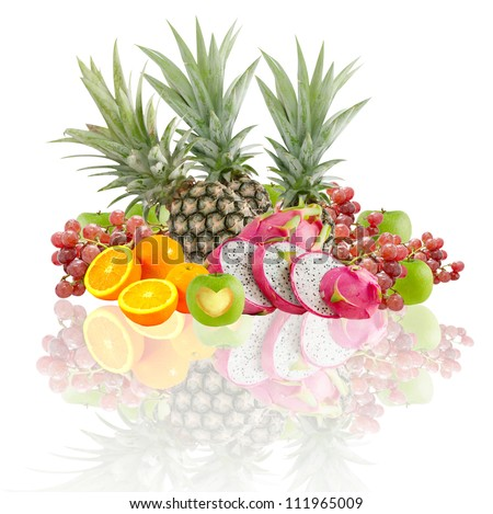 Fresh mix fruits over white background with reflection