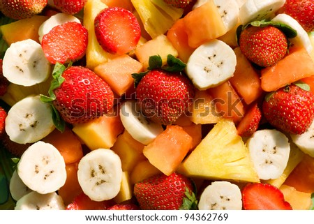 Fresh mixed fruit salad . Wholesome food. - stock photo