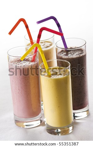 Fresh mixed fruit smoothies close up shoot