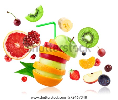 Shutterstock Fresh mixed fruits falling on white background. Food concept