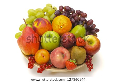 fresh mixed fruits on plate