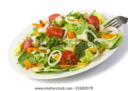 fresh mixed salad on a plate, isolated on white #32680078